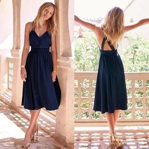 SEZANE EDITIONS Silk Navy Cross Back Midi Dress